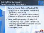 spirit of the curriculum one community one nation