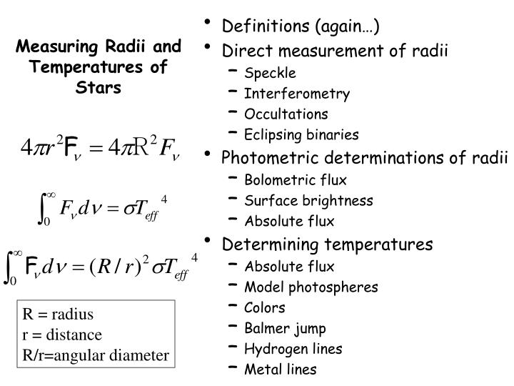 measuring radii and temperatures of stars n.