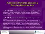avances en derechos sexuales y derechos reproductivos1