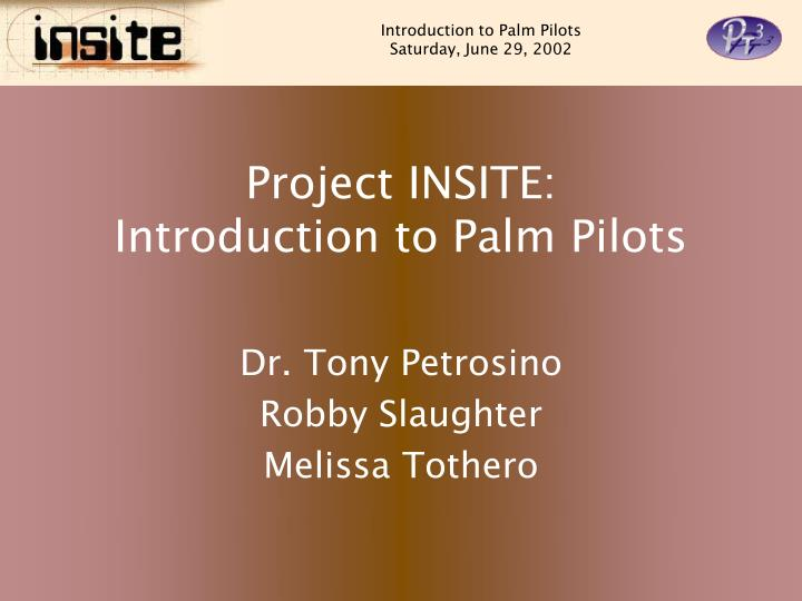 project insite introduction to palm pilots n.