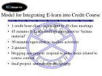 model for integrating e learn into credit course