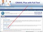 cinahl plus with full text
