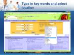 type in key words and select location