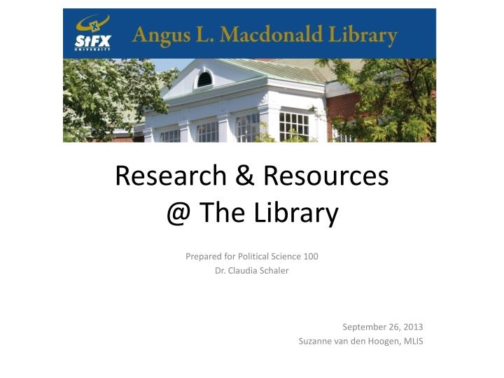 research resources @ the library n.