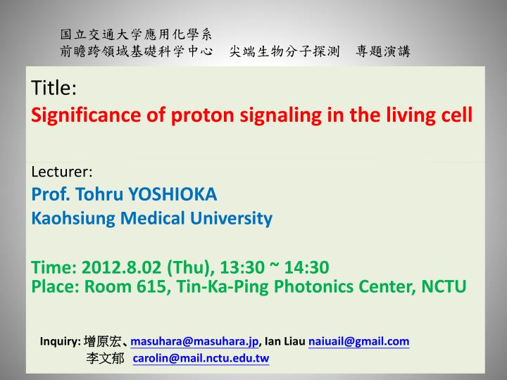 title significance of proton signaling in the living cell n.