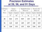 precision estimates at 28 56 and 91 days