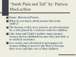 sarah plain and tall by patricia maclachlan