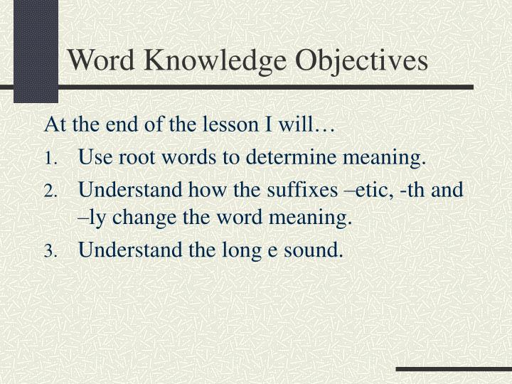 word knowledge objectives n.