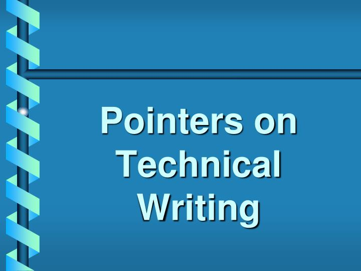 pointers on technical writing n.