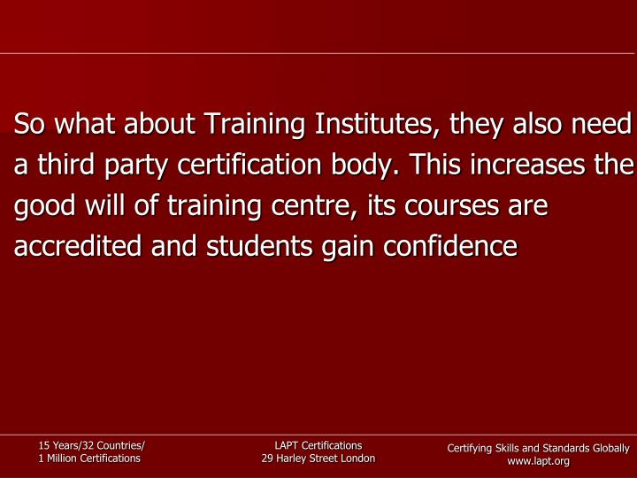 So what about Training Institutes, they also need