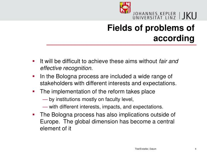 Fields of problems of according