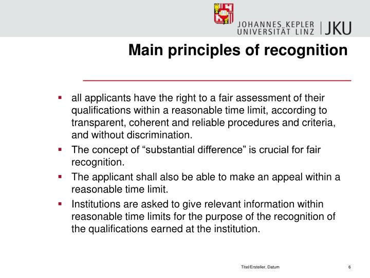 Main principles of recognition