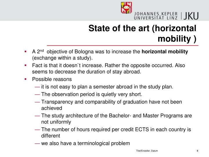 State of the art (horizontal mobility