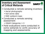 inventory and assessment of critical wetlands1