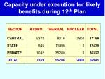 capacity under execution for likely benefits during 12 th plan