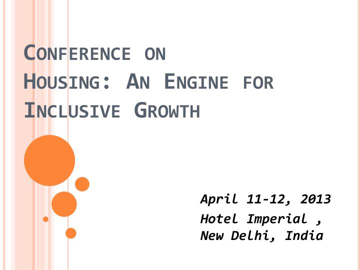 conference on housing an engine for inclusive growth n.