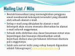 mailing list milis