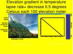 elevation gradient in temperature lapse rate decrease 0 5 degrees celsius each 100 elevation meter