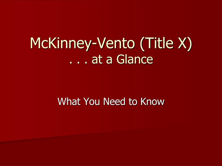 mckinney vento title x at a glance n.