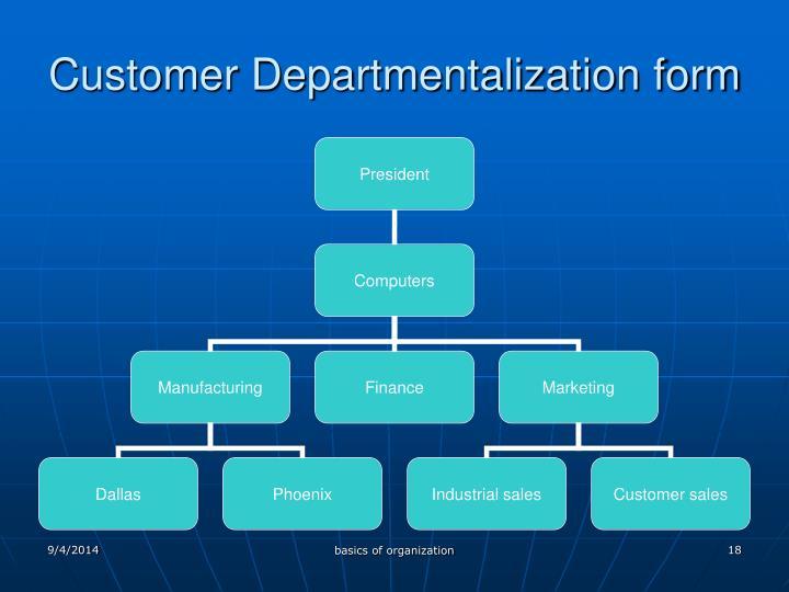 Customer Departmentalization form
