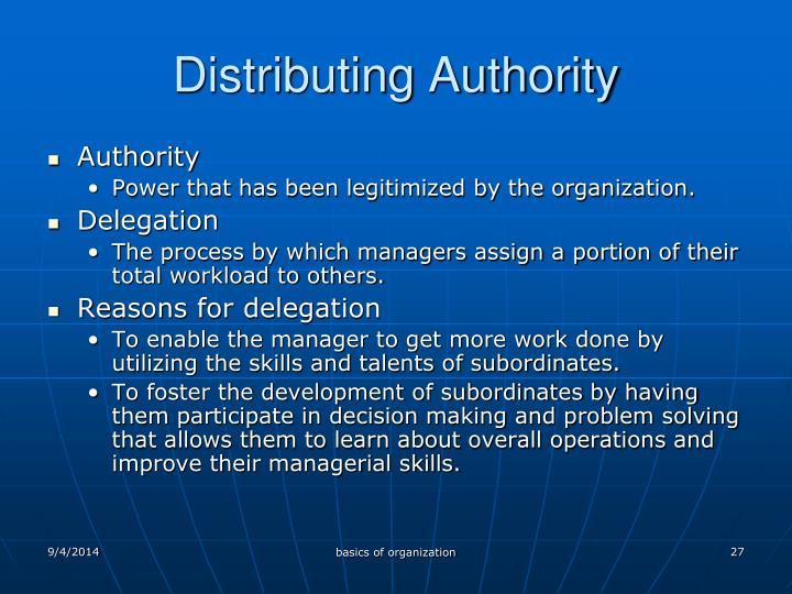 Distributing Authority