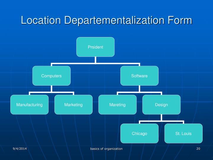Location Departementalization Form