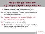 programos gyvendinimo i ojo etapo pagrindin s priemon s