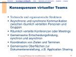 konsequenzen virtueller teams