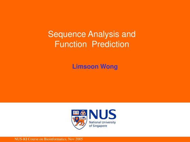 sequence analysis and function prediction n.