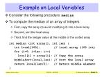 example on local variables