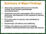 summary of major findings