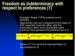 freedom as indeterminacy with respect to preferences 1