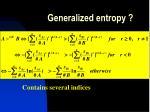 generalized entropy