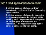 two broad approaches to freedom