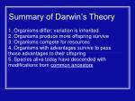 summary of darwin s theory