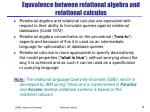 equvalence between relational algebra and relational calculus