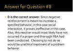 answer for question 8