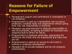 reasons for failure of empowerment