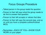 focus groups procedure