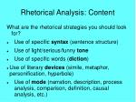 rhetorical analysis content