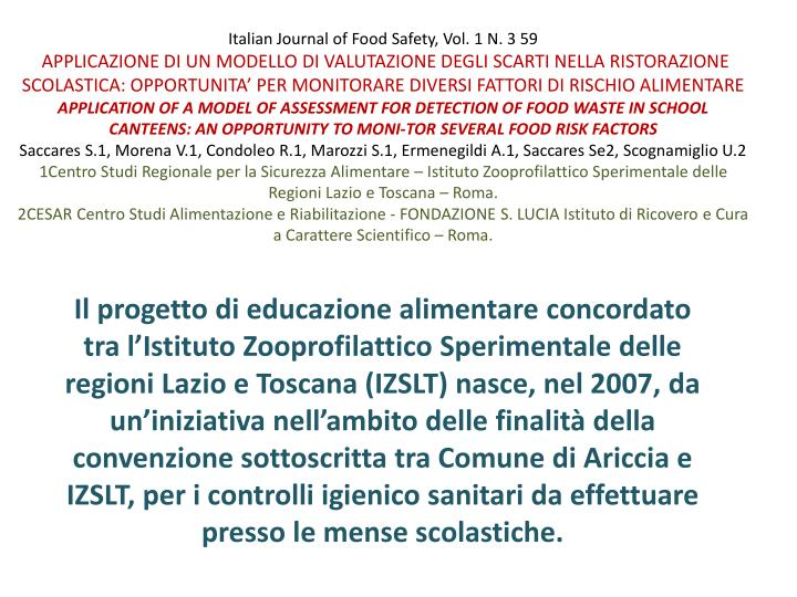 Italian Journal of Food Safety, Vol. 1 N. 3 59