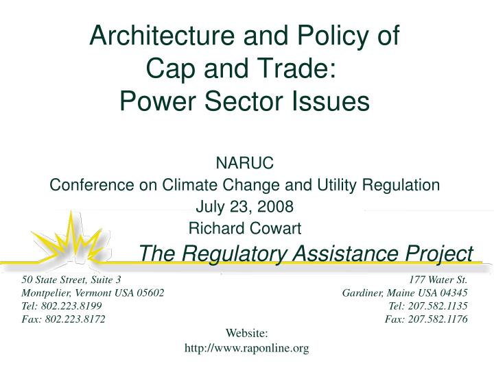 architecture and policy of cap and trade power sector issues n.