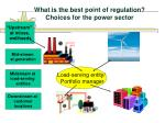 what is the best point of regulation choices for the power sector