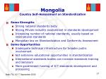 mongolia country self assessment on standardization