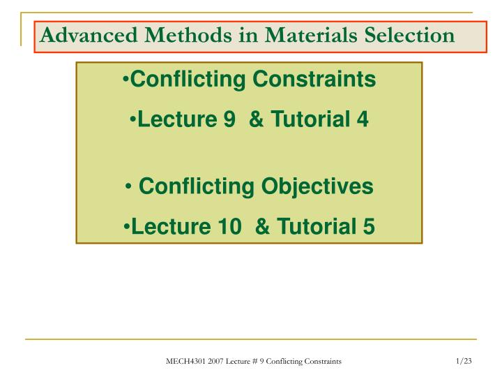 PPT - Advanced Methods in Materials Selection PowerPoint