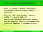 il nuovo patto di bilancio 2012