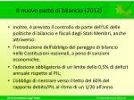 il nuovo patto di bilancio 20121