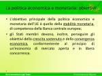 la politica economica e monetaria obiettivi