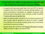 le fasi storiche della cooperazione monetaria a il sistema monetario europeo sme