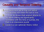 causality and temporal ordering